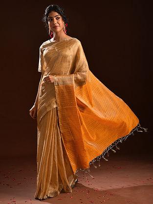 Yellow Metallic Tissue Resham Silk Saree