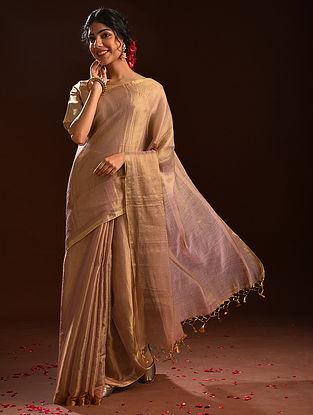 Rose Gold Metallic Tissue Cotton Saree