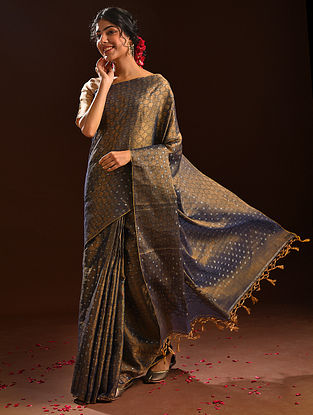 Blue Jamdani Tissue Resham Silk Saree