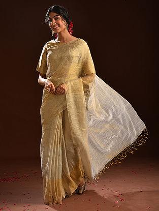 Beige Metallic Tissue Resham Silk Saree