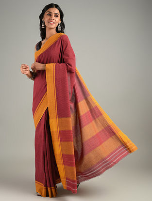 Red Handwoven Patteda Anchu Cotton Saree