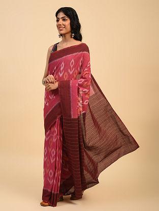 Red Handloom Cotton Ikat Saree