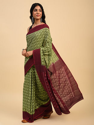 Green Handloom Cotton Ikat Saree