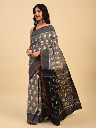 Grey Handloom Cotton Ikat Saree