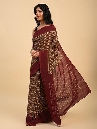 Brown Handloom Cotton Ikat Saree
