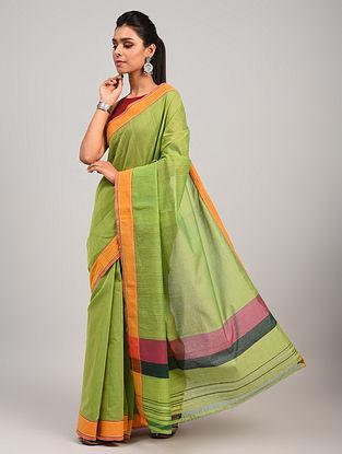 Green Dobby Handloom Cotton Saree
