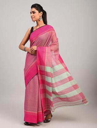 Pink Dobby Handloom Cotton Saree