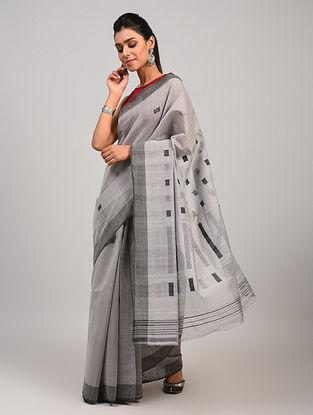 Grey Handloom Cotton Saree