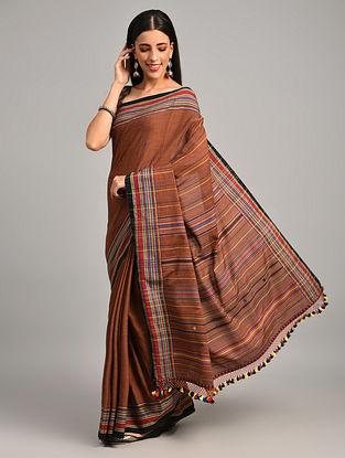 Brown Handwoven Bhujodi Cotton Saree