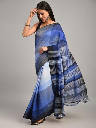 Blue Handwoven Bhujodi Cotton Saree