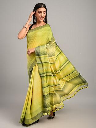 Yellow Handwoven Bhujodi Cotton Saree