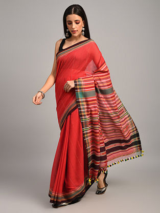 Red Handwoven Bhujodi Cotton Saree
