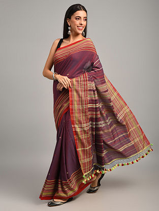 Maroon Handwoven Bhujodi Cotton Saree