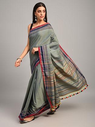 Grey Handwoven Bhujodi Cotton Saree