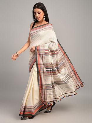 White Handwoven Bhujodi Cotton Saree