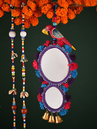Multicolor Decorative Hanging with Reversible Mirror (L-14.5in, W-5.2in)