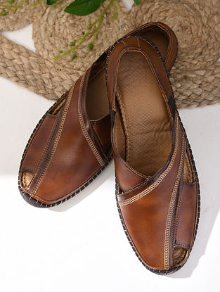 Brown Handcrafted Leather Shoes For Men