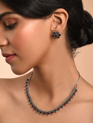 Pink Green Silver Tone Tribal Necklace With Earrings
