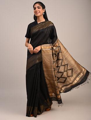 Black Handwoven Dupion Silk Saree