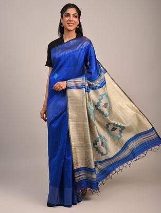 Blue Handwoven Dupion Silk Saree
