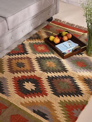 Multicolor Handwoven Wool Jute Panja Dhurrie