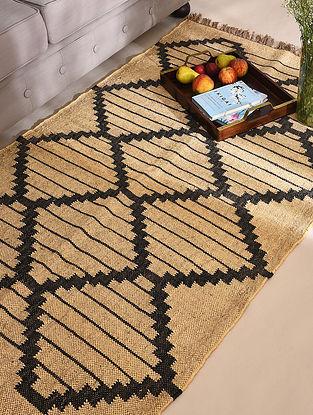 Natural and Black Handwoven Wool Jute Panja Dhurrie