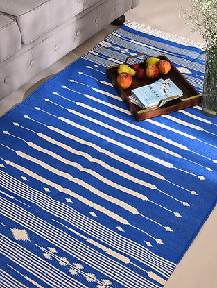 Blue and White Handwoven Cotton Panja Dhurrie