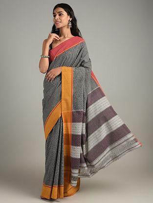 Grey Handwoven Patteda Anchu Cotton Saree