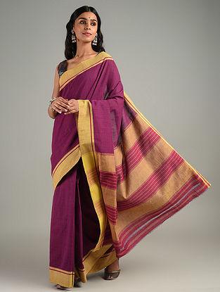 Purple Handwoven Patteda Anchu Cotton Saree