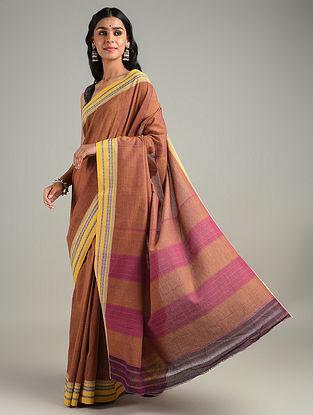 Brown Handwoven Hubli Cotton Saree