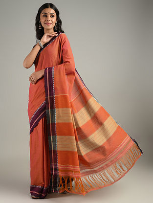 Orange Handwoven Gujju Cotton Saree