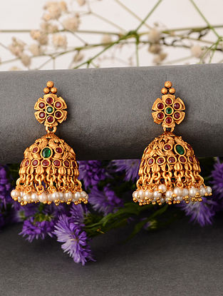 Pink Green Temple Earrings