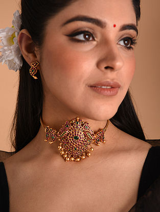 Pink Green Gold Tone Temple Necklace With Earrings