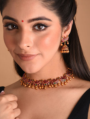 Pink Gold Tone Temple Necklace With Earrings