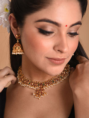 White Gold Tone Temple Necklace With Earrings