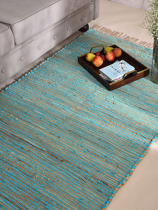 Turquoise Cotton Chindi Sea Grass Dhurrie
