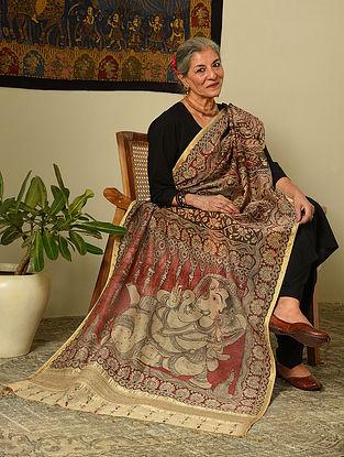 Multicolour Hand Painted Kalamkari Maheshwari Silk Dupatta