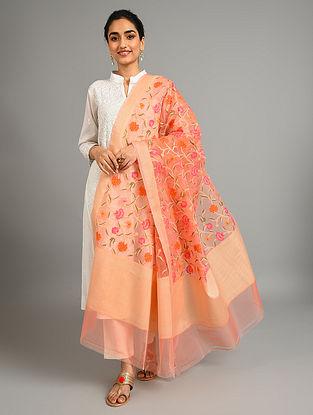 Pink Benarasi Handwoven Kora Dupatta