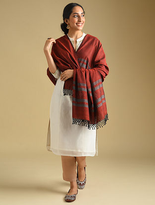 Maroon Handwoven Tangaliya Cotton Dupatta