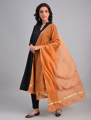 Orange Kasuti Embroidered Silk Cotton Dupatta with Zari