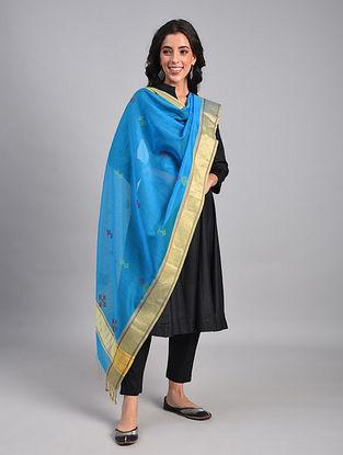 Blue Kasuti Embroidered Silk Cotton Dupatta with Zari