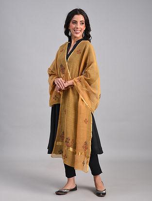 Brown Kasuti Embroidered Silk Cotton Dupatta with Zari