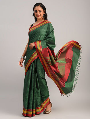 Green Handwoven Khun Cotton Blend Saree