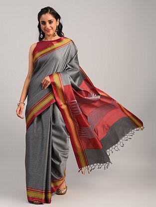 Grey Handwoven Khun Cotton Blend Saree