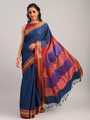 Blue Handwoven Khun Cotton Blend Saree