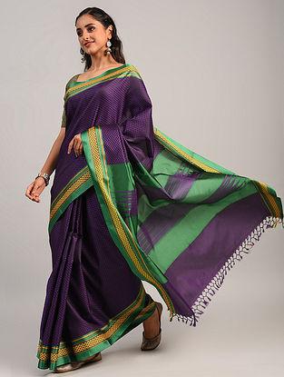 Purple Handwoven Khun Cotton Blend Saree