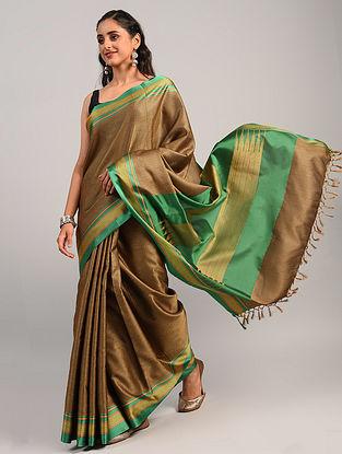Brown Handwoven Khun Cotton Blend Saree