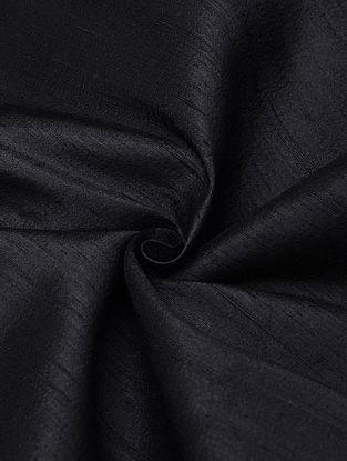 Black Handloom Raw Silk Fabric