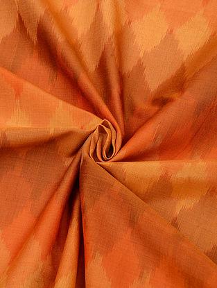 Orange Handloom Cotton Silk Ikat Fabric