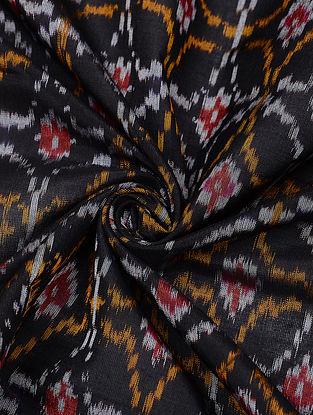 Black Handloom Cotton Silk Ikat Fabric